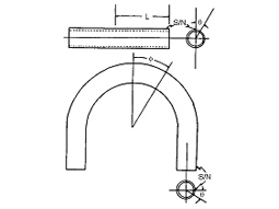 Coordinate system for defining the stress measurement sites on bent tubing samples